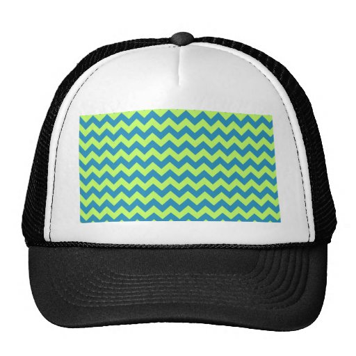 Lime Green and Teal Chevron Trucker Hat