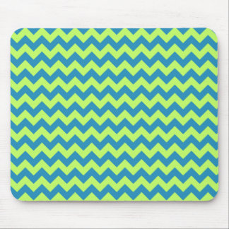 Lime Green and Teal Chevron Mousepads