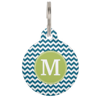 Lime Green and Teal Chevron Pattern Monogram Pet Tag
