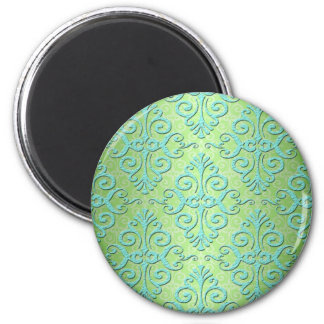Lime Green and Teal Fancy Damask Refrigerator Magnets