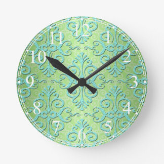 Lime Green and Teal Fancy Damask Round Clock