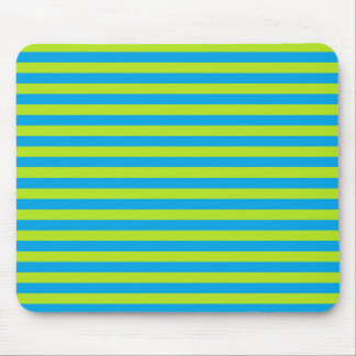 Lime Green and Turquoise Stripes Mouse Pad