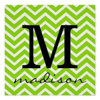 Lime Green and White Chevron Monogram Print Perfect Poster