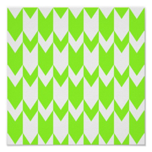 Lime Green and White Chevron Pattern. Poster
