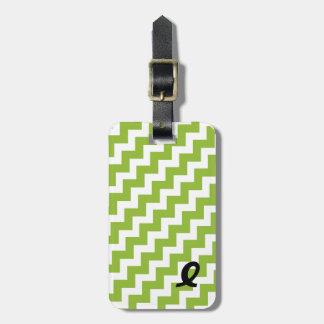Lime Green and White Chevron Stripe Luggage Tag
