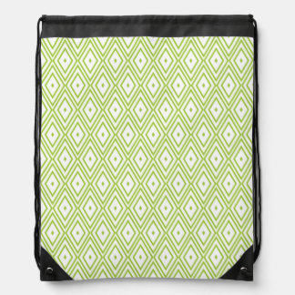 Lime Green and White Diamonds Drawstring Backpack