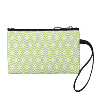Lime Green and White Diamonds Change Purses