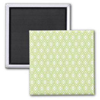 Lime Green and White Diamonds Square Magnet