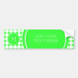 Lime Green and White Gingham, Your Monogram Bumper Sticker