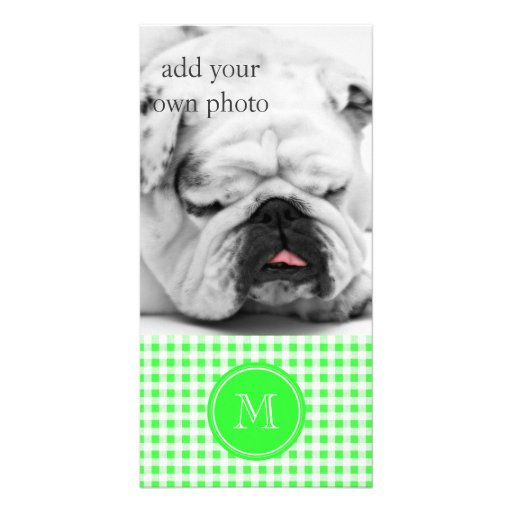 Lime Green and White Gingham, Your Monogram Photo Card Template