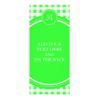 Lime Green and White Gingham, Your Monogram Rack Card Design