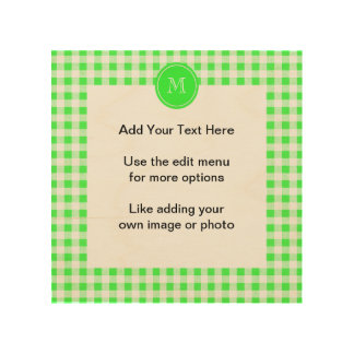 Lime Green and White Gingham, Your Monogram Wood Canvas