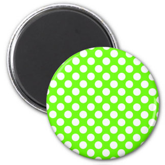 Lime Green and White Polka Dots 6 Cm Round Magnet