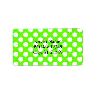 Lime Green and White Polka Dots Address Label