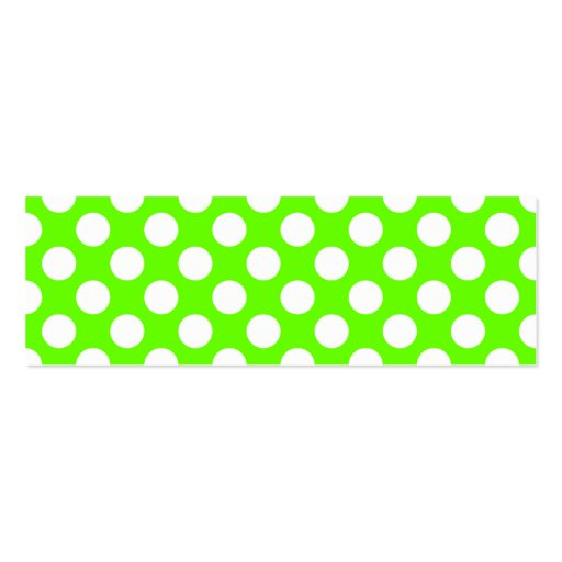 Lime Green and White Polka Dots Business Card Templates