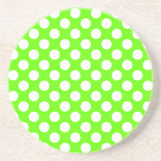 Lime Green and White Polka Dots Coaster
