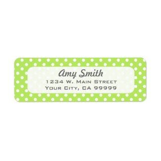 Lime Green and White Polka Dots Return Address Label