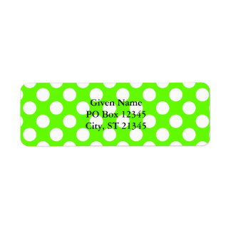 Lime Green and White Polka Dots Return Address Label