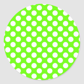 Lime Green and White Polka Dots Round Sticker