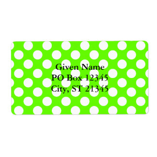 Lime Green and White Polka Dots Shipping Label