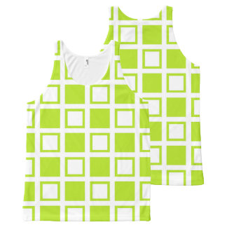Lime Green and White Squares All-Over Print Singlet