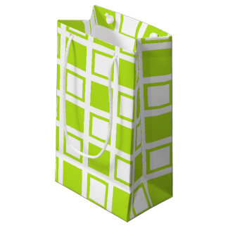 Lime Green and White Squares Small Gift Bag