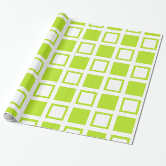 Lime Green and White Squares Wrapping Paper