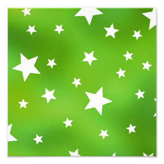 Lime Green and White Star Pattern Photographic Print