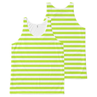 Lime Green and White Stripes All-Over Print Singlet