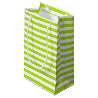 Lime Green and White Stripes Small Gift Bag