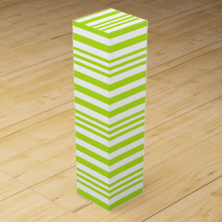 Lime Green and White Stripes X 3 Wine Gift Box