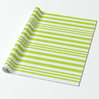 Lime Green and White Stripes X 3 Wrapping Paper