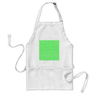 Lime Green And White Zigzag Chevron Pattern Aprons