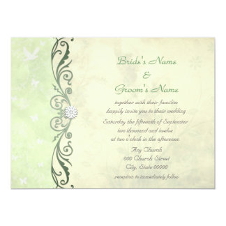 Lime Green and Yellow Floral Spring Wedding 17 Cm X 22 Cm Invitation Card