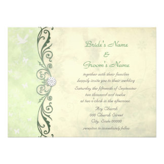 Lime Green and Yellow Floral Spring Wedding Custom Invitation