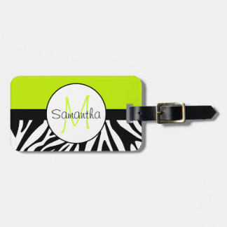 Lime Green and Zebra Animal Print Custom Monogram Luggage Tag