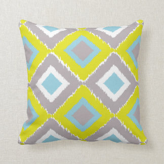 Lime Green, Aqua, and Grey Throw Pillow