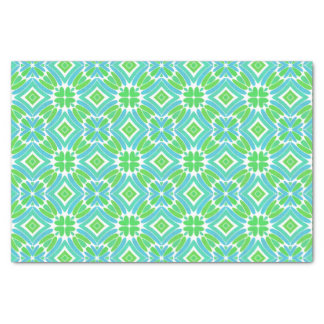 "Lime Green Aqua Turquoise Retro Fantasy Pattern 10"" X 15"" Tissue Paper"