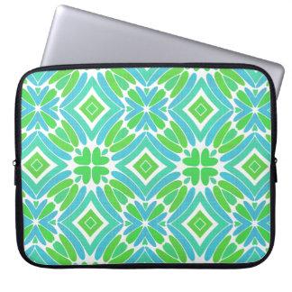 Lime Green Aqua Turquoise Retro Fantasy Pattern Laptop Sleeves