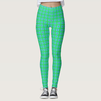 Lime Green Aqua with Small Pattern > Leggings