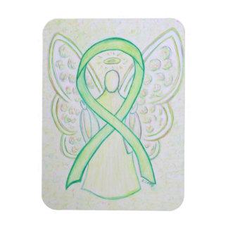 Lime Green Awareness Ribbon Angel Art Magnets