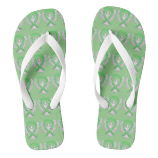 Lime Green Awareness Ribbon Angel Flip Flops