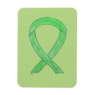 Lime Green Awareness Ribbon Custom Art Magnet