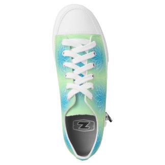 Lime Green baby Blue Lotus Flower Sneaker Printed Shoes