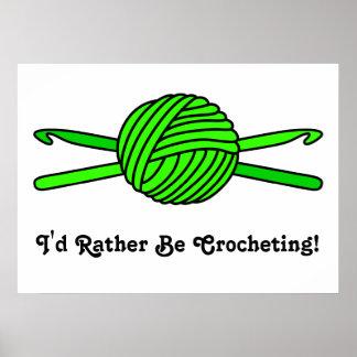 Lime Green Ball of Yarn & Crochet Hooks Poster