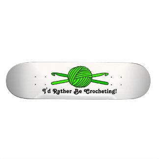Lime Green Ball of Yarn & Crochet Hooks Skateboards