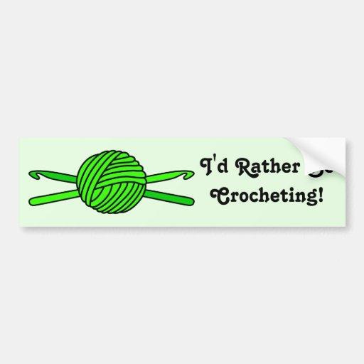 Lime Green Ball of Yarn & Crochet Hooks -Version 2 Bumper Stickers