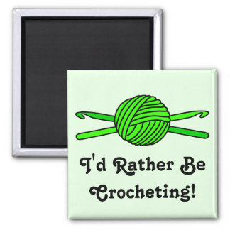 Lime Green Ball of Yarn & Crochet Hooks -Version 2 Refrigerator Magnets