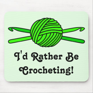 Lime Green Ball of Yarn & Crochet Hooks -Version 2 Mouse Pad