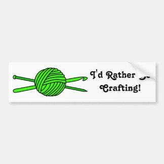 Lime Green Ball of Yarn (Knit & Crochet) Bumper Sticker